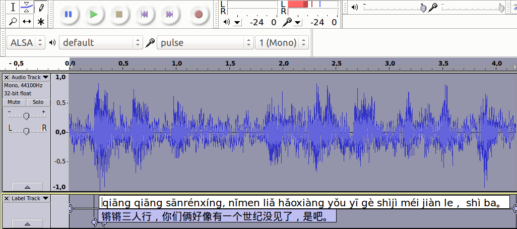 Transcribing Chinese audio as an active form of listening