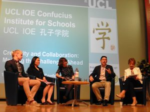 Me (left) participating in a plenary discussion at the 13th Annual Chinese Teaching Conference at University College London, arranged by the IOE Confucius Institute for Schools. Photo by: Philippa Vallely.