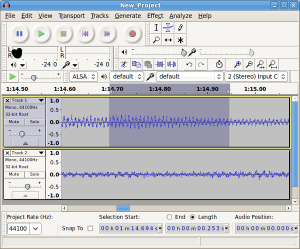 Recording yourself to improve speaking ability in Audacity.